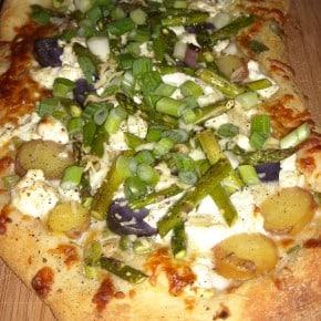 Asparagus Goat Cheese Potato Pizza by Nutmeg Nanny
