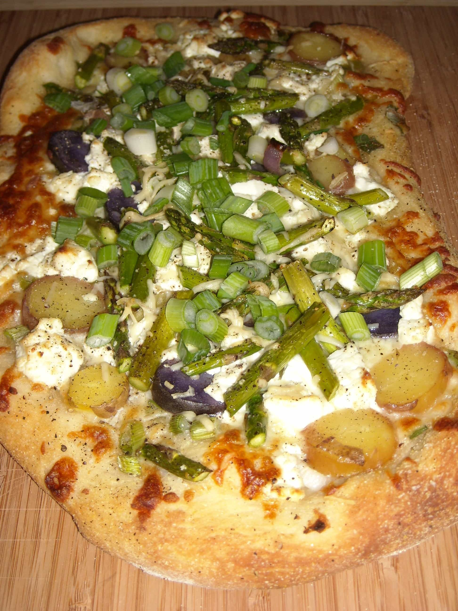 Asparagus Goat Cheese Potato Pizza by Nutmeg Nanny