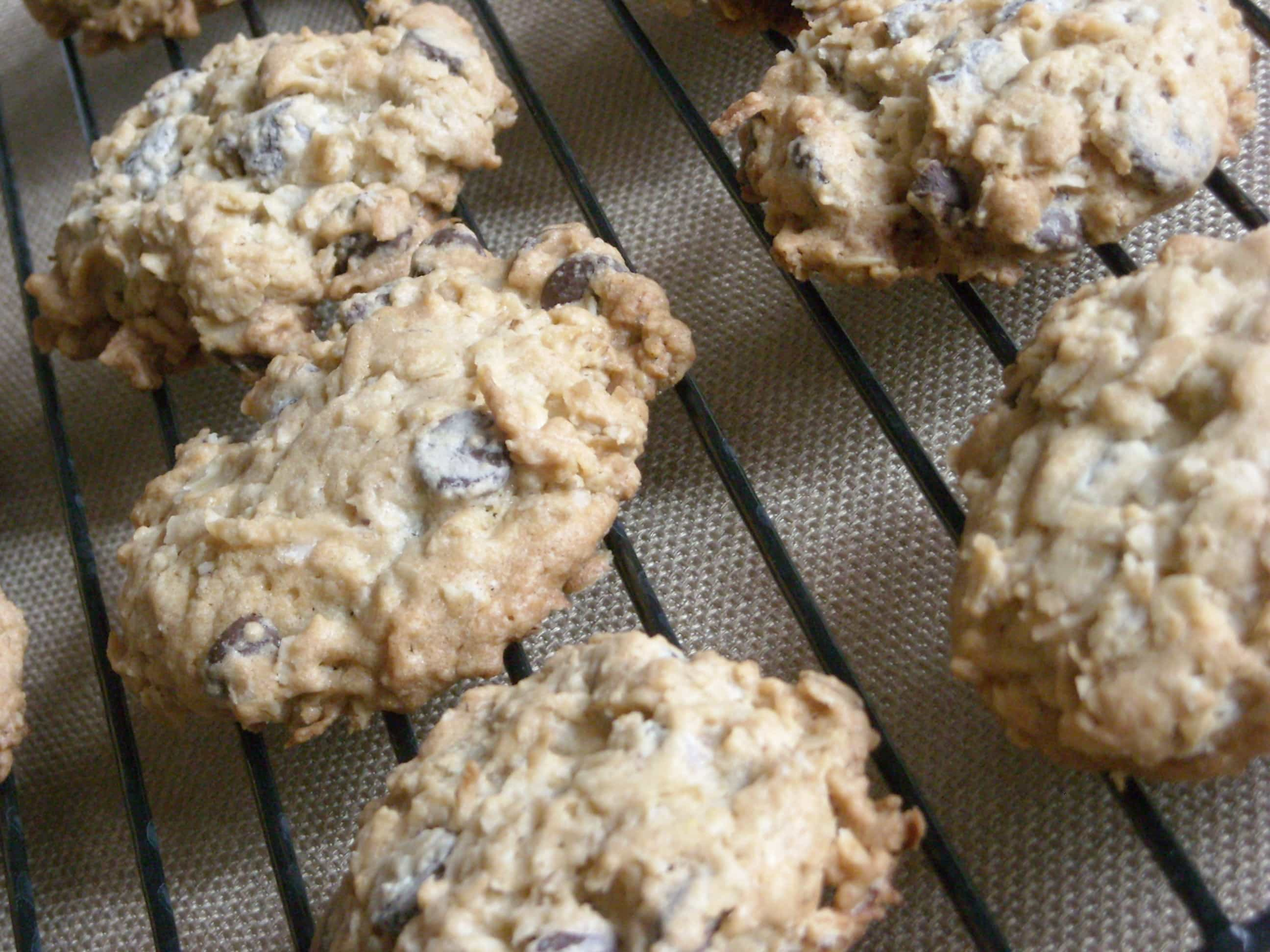These kitchen sink cookies contain everything but the kitchen sink. Packed full of oats, chocolate chips and coconut.