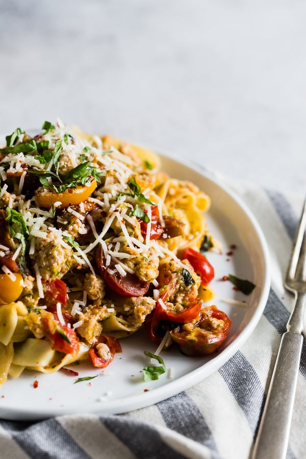 This summer Bolognese is packed full of fresh pasta, tomatoes, basil, zucchini, white wine and ground turkey. It's light and flavorful and perfect for summer. Plus it's ready in just 25 minutes!