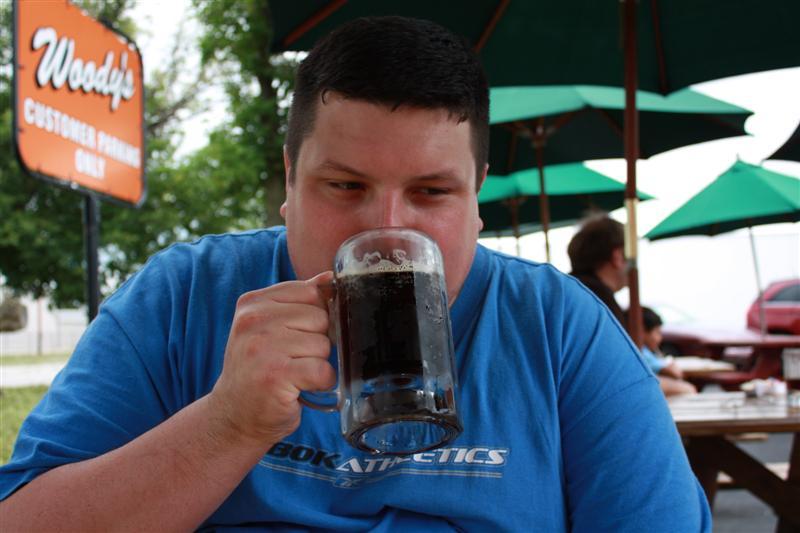 Mr. Nutmeg Nanny enjoying his cold root beer