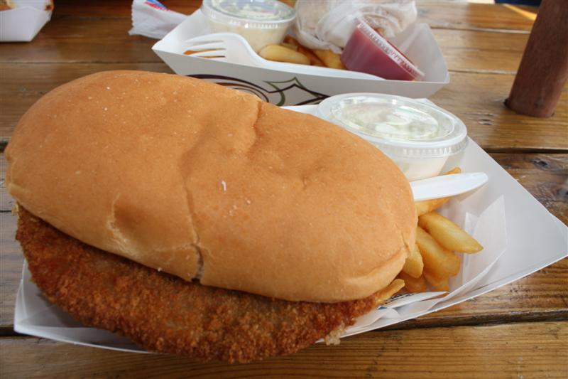Breaded veal with yellow mustard and onions...my favorite!!!
