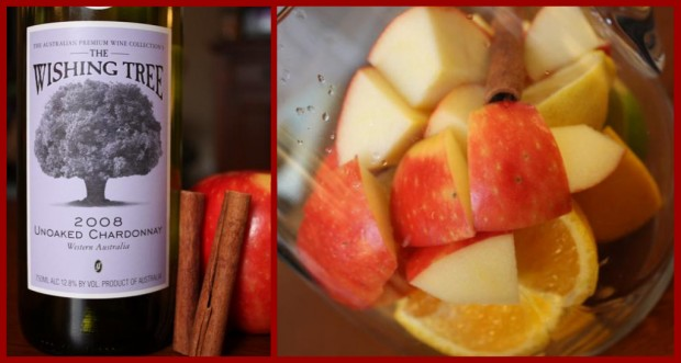 A sweet fall honeycrisp apple sangria that combines fresh picked apples, honey, cinnamon and white wine. A beautiful cinnamon sugar rim tops it off.