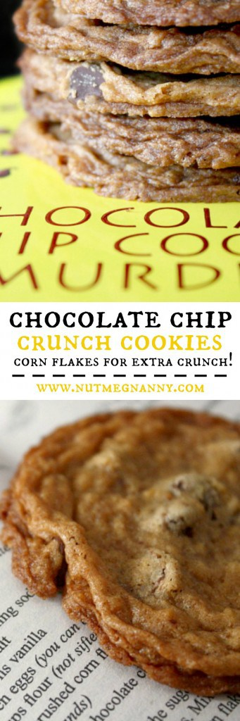 Delicious chocolate chip crunch cookies are jazzed up with semi sweet chocolate chips and crushed corn flakes. These cookies are crisp and delicious.