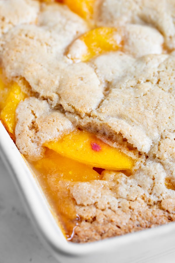 close up of cooked peaches for frozen peach cobbler recipe
