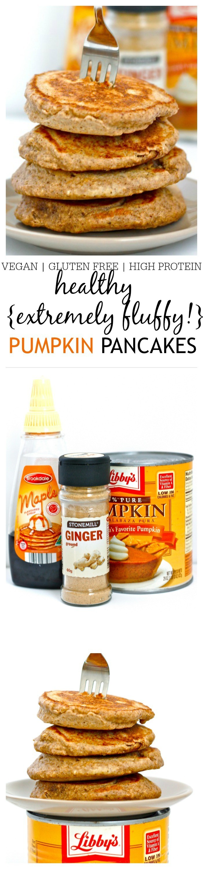 Healthy {and fluffiest!} Protein Packed Pumpkin Pancakes- Hands down, the fluffiest pancakes you'll ever make which are so healthy and filling! High in protein, gluten free, dairy free, sugar free and a vegan option, an easy method provides a perfect stack of pancakes every time with a hidden vegetable too! @thebigmansworld -thebigmansworld.com
