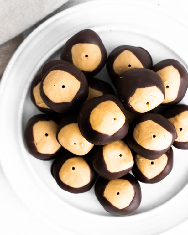 a plate of peanut butter buckeyes