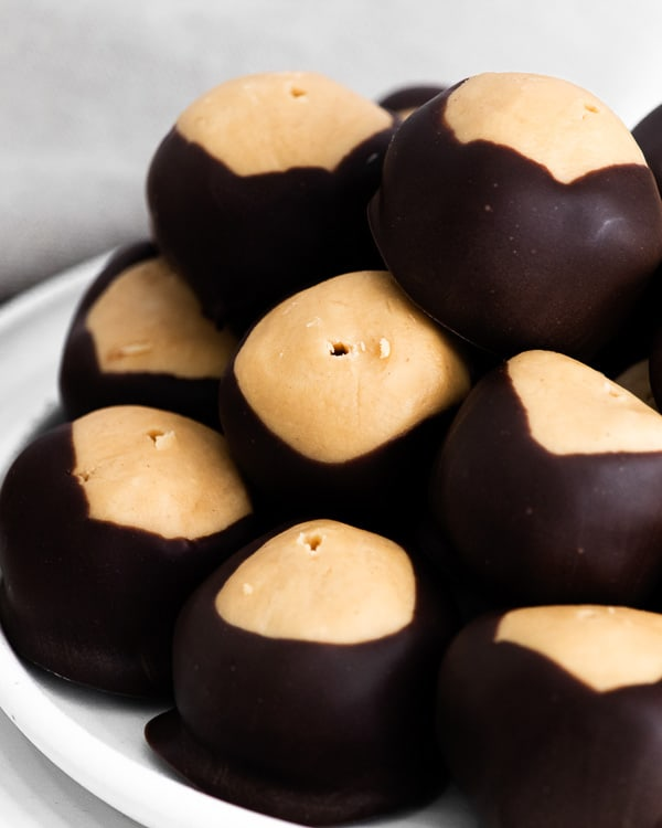 close up photo of peanut butter buckeyes