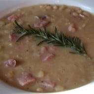 This white bean ham rosemary soup is the perfect wintertime soup. Full of rosemary flavor mixed with creamy white beans and smoked ham.