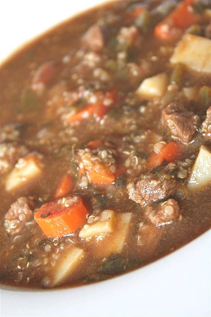 Beef, Potato and Quinoa Soup by Nutmeg Nanny