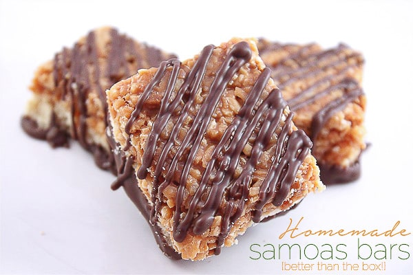 These homemade girl scout samoas cookie bars are better than the original! Easy to make and totally delicious!