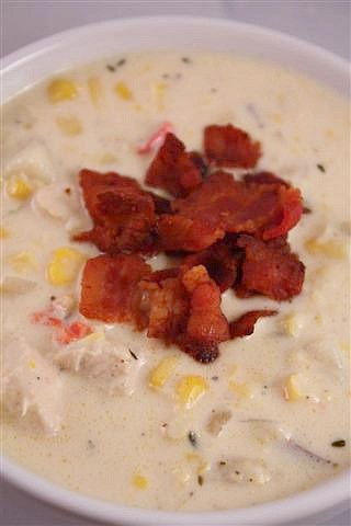 Super thick and creamy chicken corn chowder. This soup is packed full of chicken, sweet corn and lots of crispy bacon. Your whole family will love this!