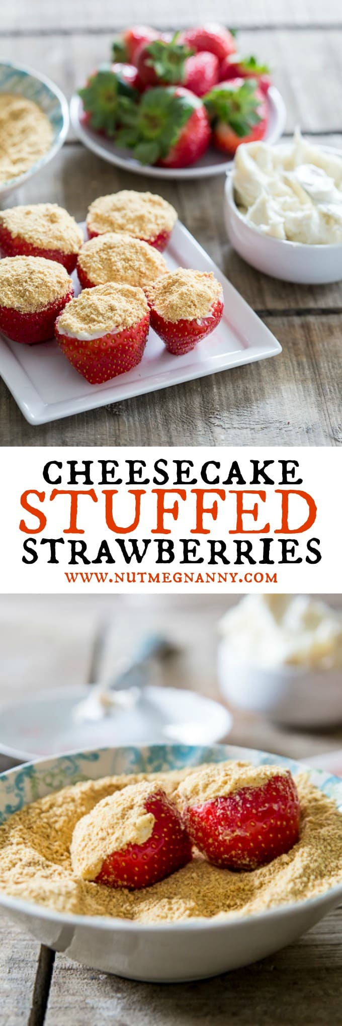 These no-bake cheesecake stuffed strawberries are simple to make and perfect for Valentine's Day. Stuffed with sweet cream cheese filling and topped with a dusting of graham cracker crumbs.