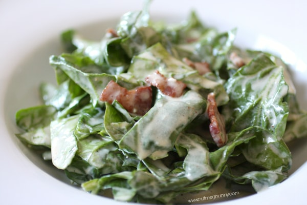 Creamy Bacon Dressing with Greens by Nutmeg Nanny