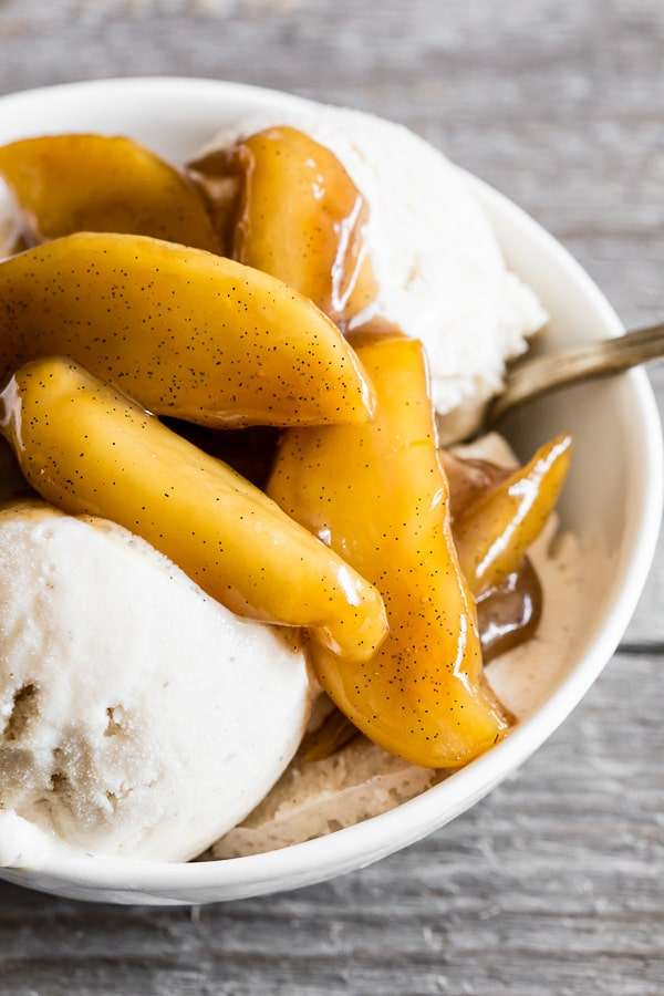 These sweet vanilla spiced apples are perfect served on top of ice cream, pancakes or French toast. Ready in under 30 minutes and such a great use for all those fall apples.