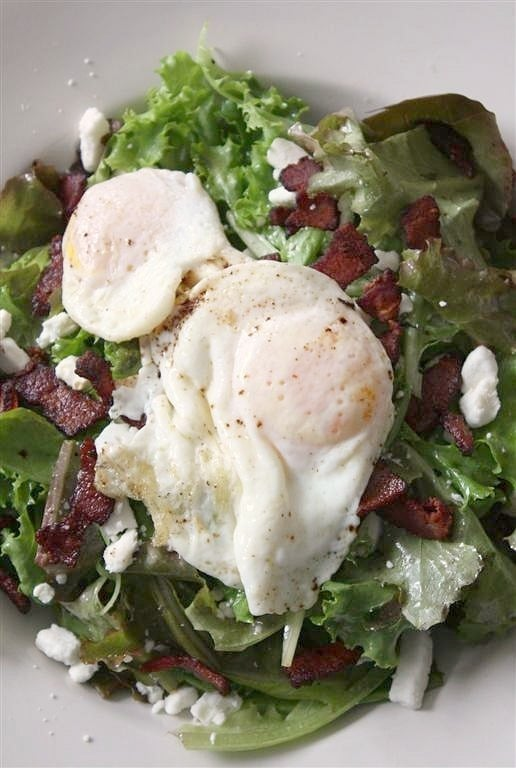 This mixed greens with crispy bacon, goat cheese and fried egg salad is the BEST of everything. You'll love how all the flavors work together and how hearty this salad tastes. Everything is better with a fried egg, am I right?