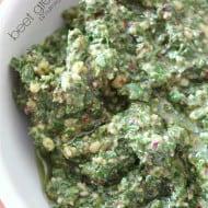Beet Green Pesto by Nutmeg Nanny