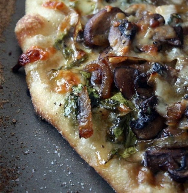 This caramelized onion mushroom and lambs quarters pizza are packed full of flavor and seasonal ingredients. If you can't find lambs quarters try arugula or spinach.