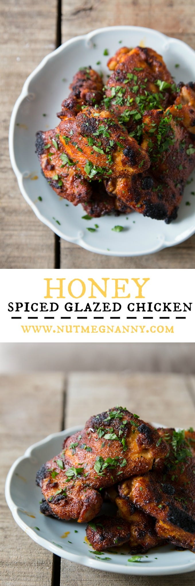 This delicious honey spiced glazed chicken is made with chicken thighs coated in flavorful spices and basted with a sweet honey glaze. It's easily cooked under the broiler or on the grill. It's sweet, spicy and oh so delicious!