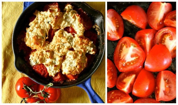 This savory tomato cobbler is the perfect use for all those summer tomatoes. This cobbler is packed full of fresh tomatoes, gouda and fresh sage. You're going to love this!