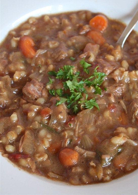 Slow Cooker Beef Barley Soup | Nutmeg Nanny