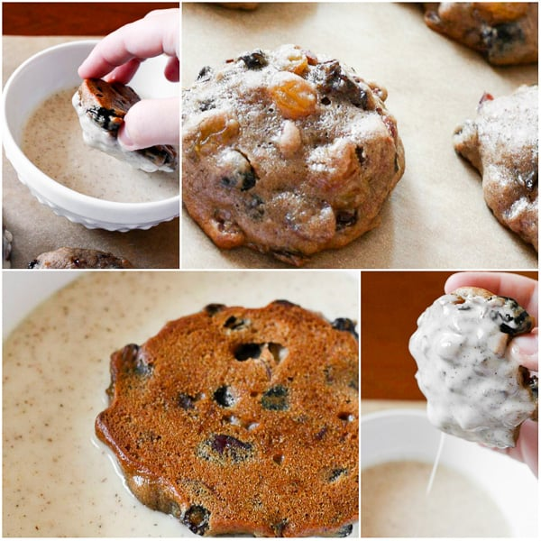 a collage of fruit cake cookies getting dipped in glaze