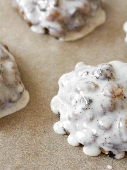 fruit cake cookies dipped in rum and clove glaze