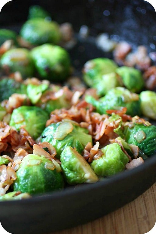 These super delicious Brussels sprouts with pancetta are the perfect vegetable side dish. Packed full of flavor and crispy bits of pancetta.