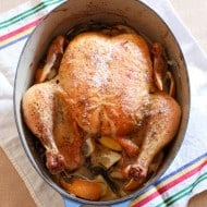 This classic roast chicken turns out perfect every single time. Stuffed with lots of fresh lemon, rosemary, thyme, sage and seasoned with just salt and pepper. It's classic flavors at it's best.