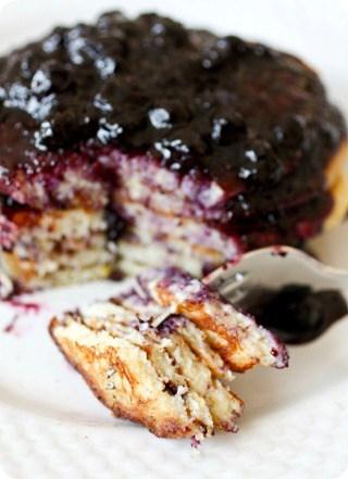 Lemon Ricotta Pancakes with Blueberry Sauce by Nutmeg Nanny