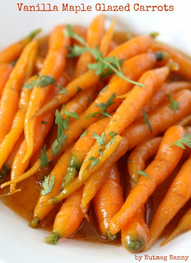 These sweet vanilla maple glazed carrots are the perfect addition to your dinner or holiday table. Cooked in just around 15 minutes and full of maple syrup and vanilla bean flavor.