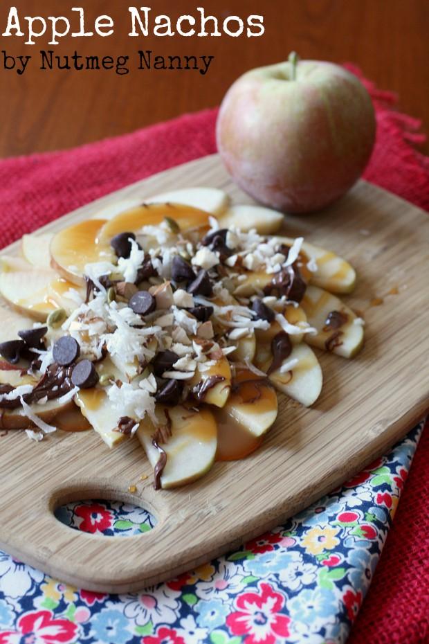 apple nachos on a wooden platter.