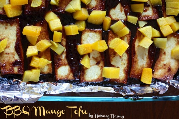 This bbq mango tofu is a great way to use tofu while keeping it fresh, light and delicious. You can use whatever bbq sauce you enjoy but don't skimp that fresh mango topping.