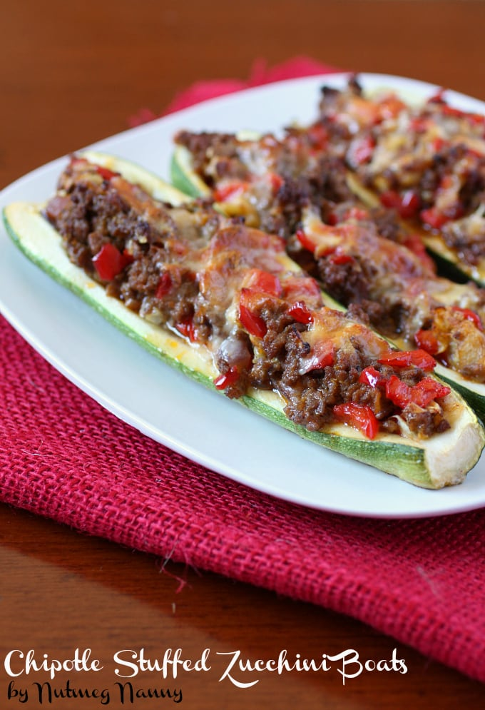 These chipotle stuffed zucchini boats are packed full of chipotle taco ground beef and topped with sharp cheddar cheese. Super simple to make and totally delicious!