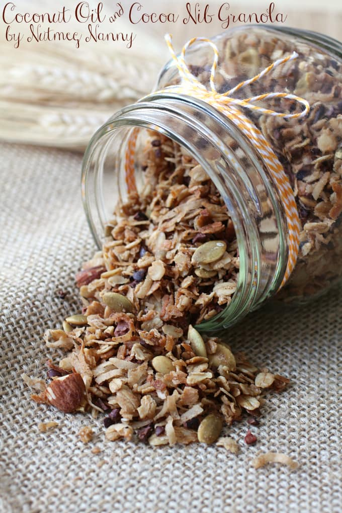 This coconut oil and cocoa nib granola is a breeze to make and tastes great overtop yogurt or eaten straight from the jar. Plus it's perfect mix of salty and sweet. You'll be eating this all year long!