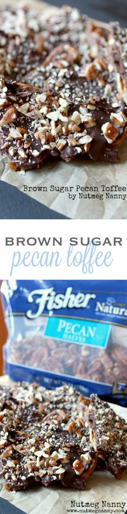 This brown sugar pecan toffee is the easiest homemade candy you will ever make! It's packed full of pecans, pretzels and topped with delicious semisweet chocolate. Plus it's ready in just 35 minutes! If you have never made candy before now is the time!