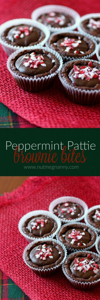 These super simple peppermint pattie brownie bites are the perfect combination of rich fudgy brownies and minty peppermint patties. Adorable and delicious!