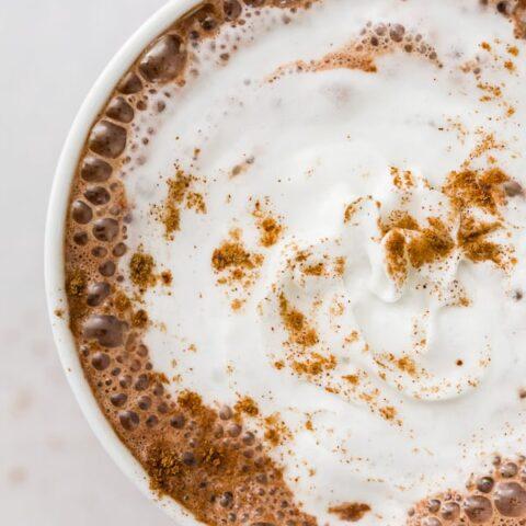 Vitamix hot chocolate in a white mug