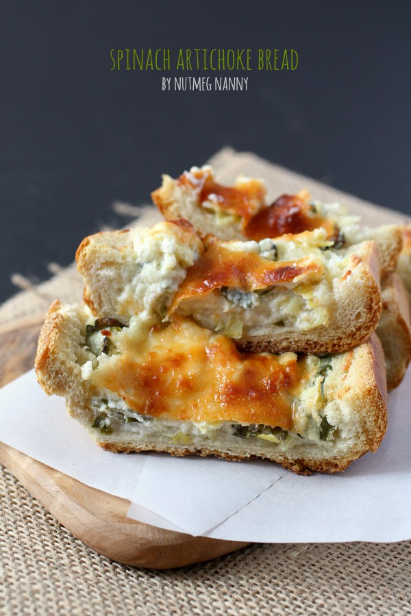 This spinach artichoke bread gives you all the flavor of the dip piled high onto crispy bread and topped with lots of cheese.