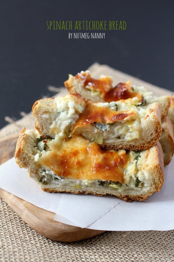 Spinach Artichoke Bread - Nutmeg Nanny