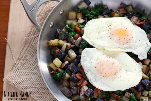 Tri-Color Potato Hash with Pancetta and Kale by Nutmeg Nanny