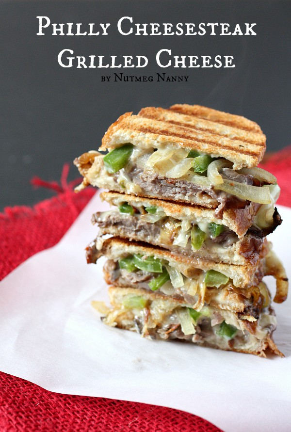 This Philly cheesesteak grilled cheese is packed with rare roast beef, onions, green peppers and lots of melty cheese. This is no boring grilled cheese!