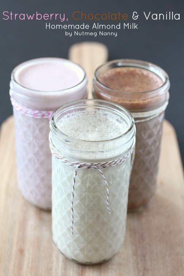 This homemade almond milk recipe includes variations for vanilla bean, chocolate and strawberry. Fresh, delicious and ready in no time! Plus it's a great use for your high powered blender!