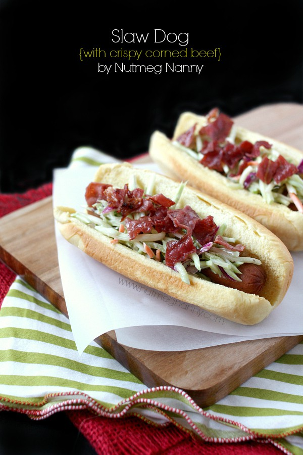 Slaw Dog with Crispy Corned Beef by Nutmeg Nanny