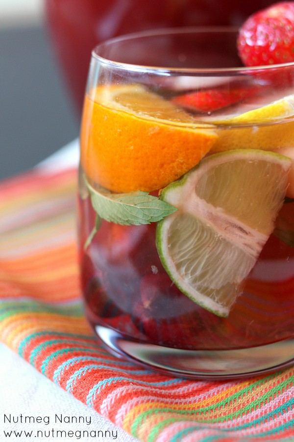 This sparkling summer sangria is packed full of fresh fruit, orange liqueur and pink sparkling wine. Welcome summer with this sweet cocktail! You'll love it!