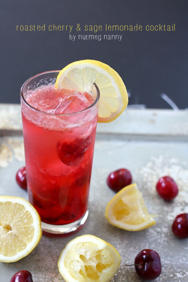 Roasted Cherry Sage Lemonade Cocktail by Nutmeg Nanny