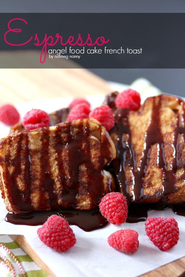 This espresso angel food cake french toast is the perfect breakfast pick me up. Sweet cake dipped in espresso milk and drizzled with chocolate sauce. So delicious and so easy to make!
