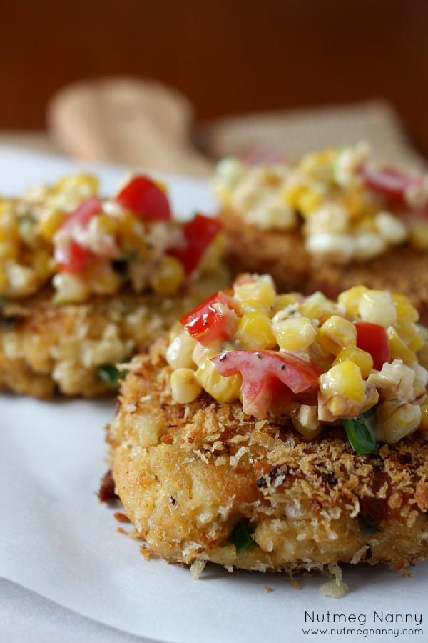 Crab Cakes with Sweet Corn Salsa | Nutmeg Nanny