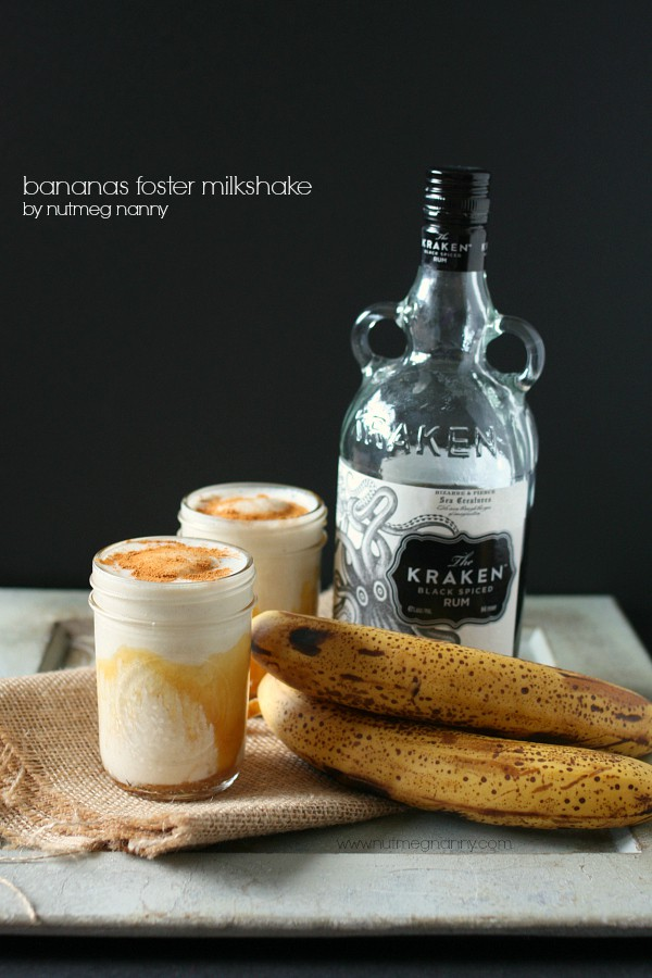 This bananas foster milkshake is the perfect way to celebrate summer. Packed full of banana flavor with a hint of dark rum flavor. So easy and delicious!