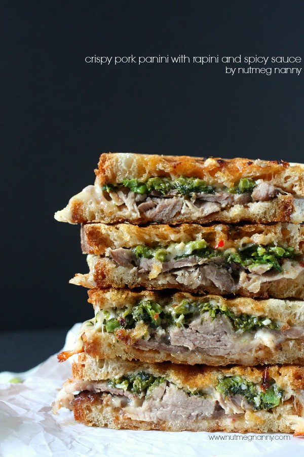 Crispy Roast Pork Panini with Rapini and Spicy Sauce by Nutmeg Nanny